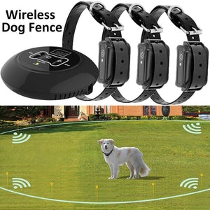 500m Wireless Electric Dog Fence Smart Waterproof Dog Training Collar Sound/Shock Bark Stopper Dog Training Device for 1/2/3 Dog - Common Panda