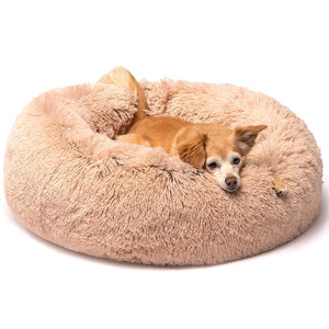 Calming Donut Dog Bed For Dogs and Cats in Shag Fur, Self-Warming and Machine Washable Dog Bed - Common Panda