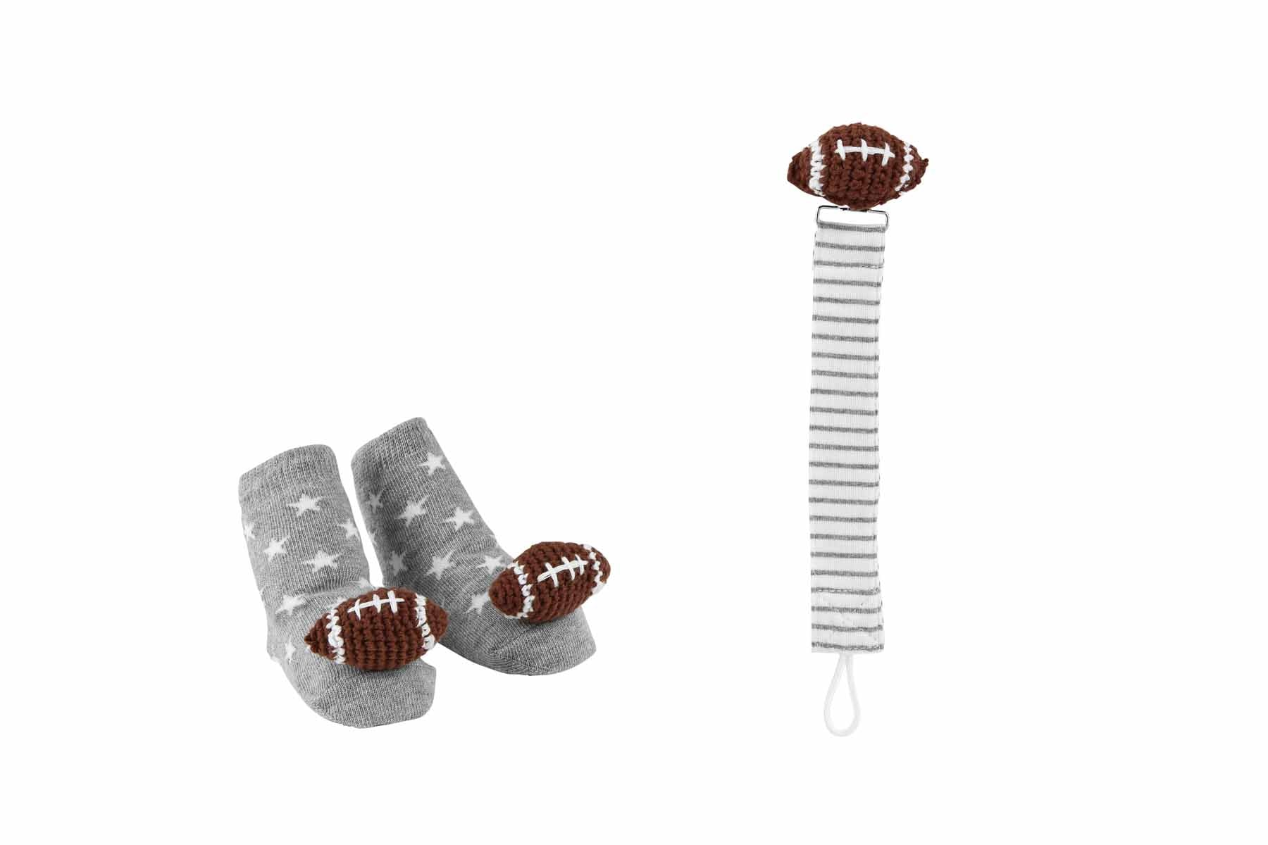 Mud Pie Football Pacy Clip Sock Set