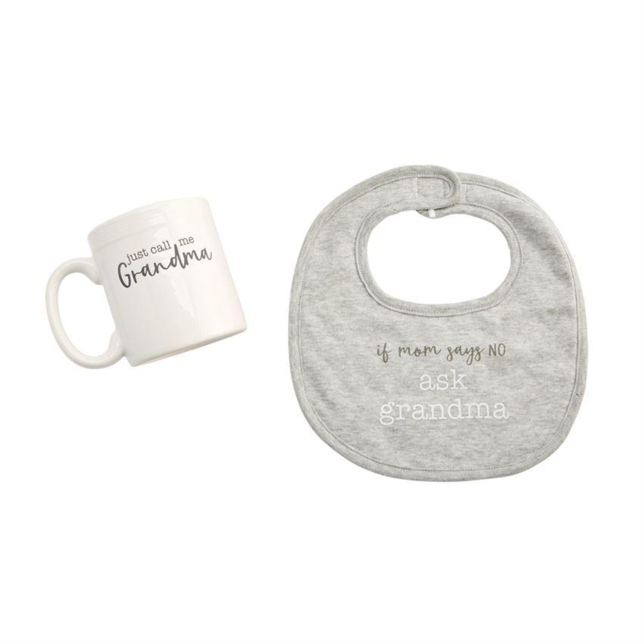 Mud Pie grey grandma bib and mug set