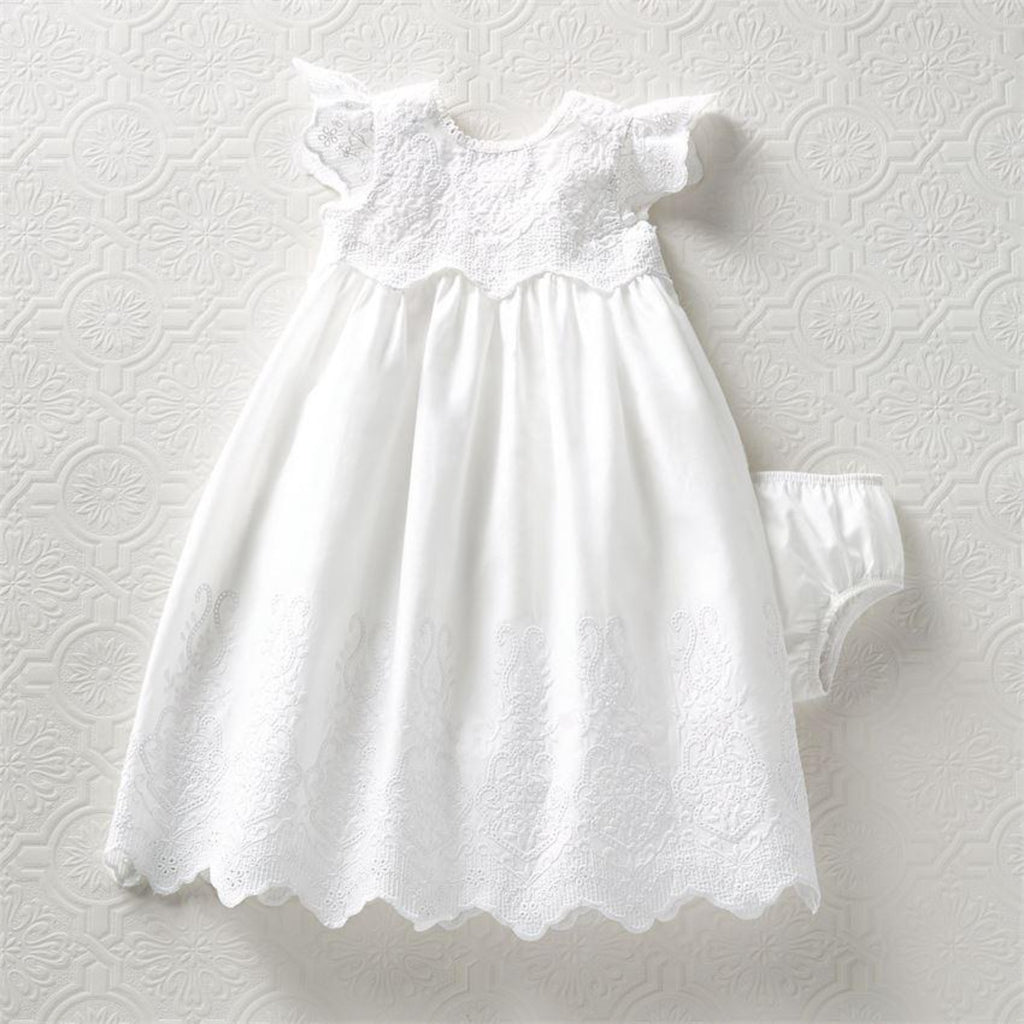 Mud Pie white eyelet girls gown with matching bottoms