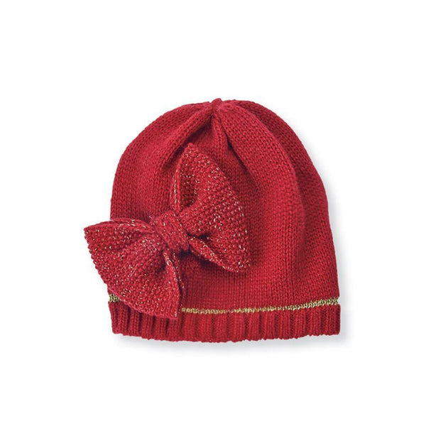 Red Bow Knit Hat Mudpie