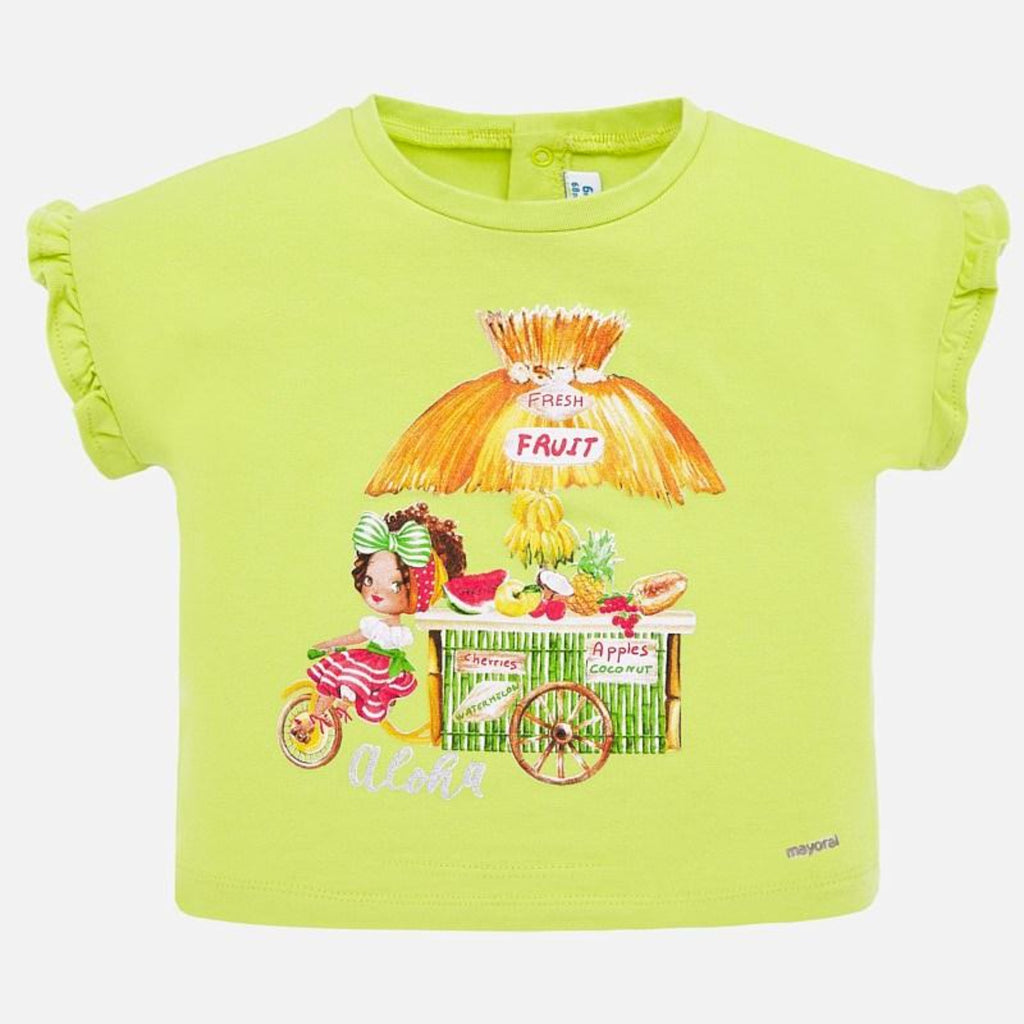 Mayoral light green graphic ruffle sleeved girls shirt