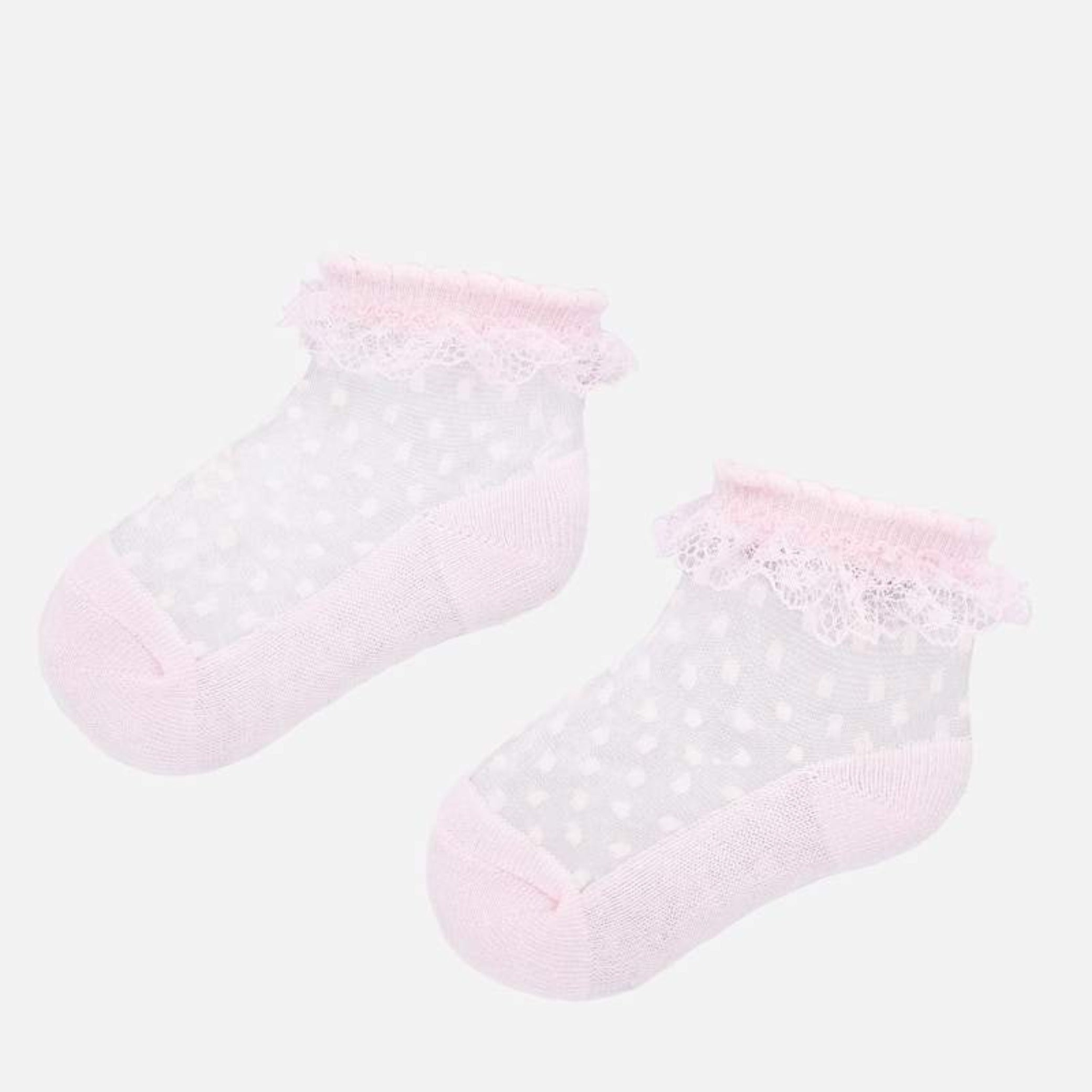 Mayoral pink Swiss dotted girls socks