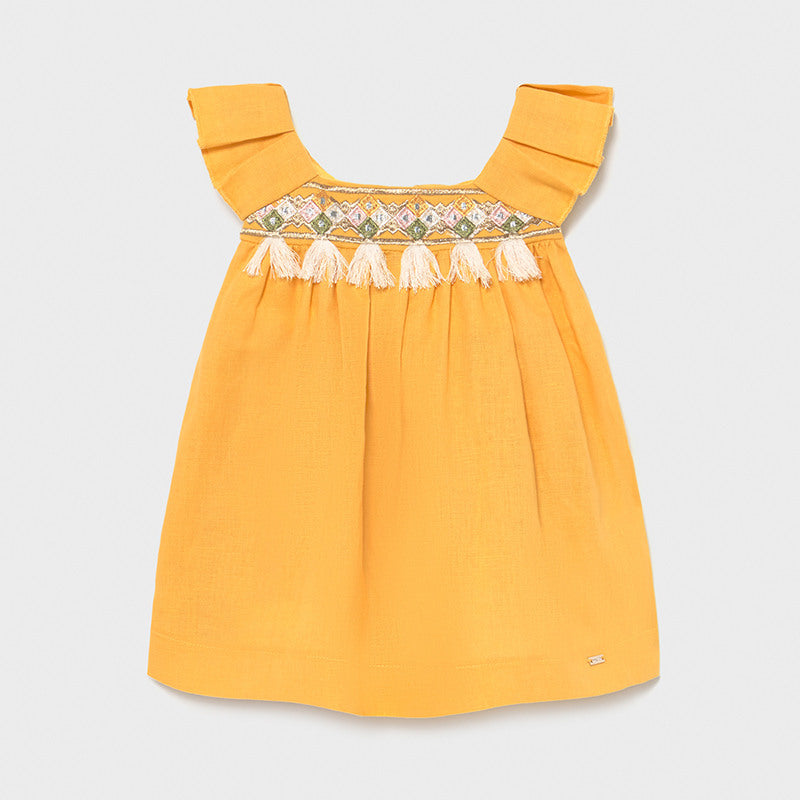 Mayoral Mustard Tassel Dress (Baby Girl)
