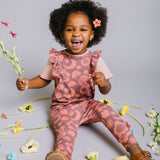 Ruffle Sleeve Collage Floral Romper (Toddler + Little Girl)