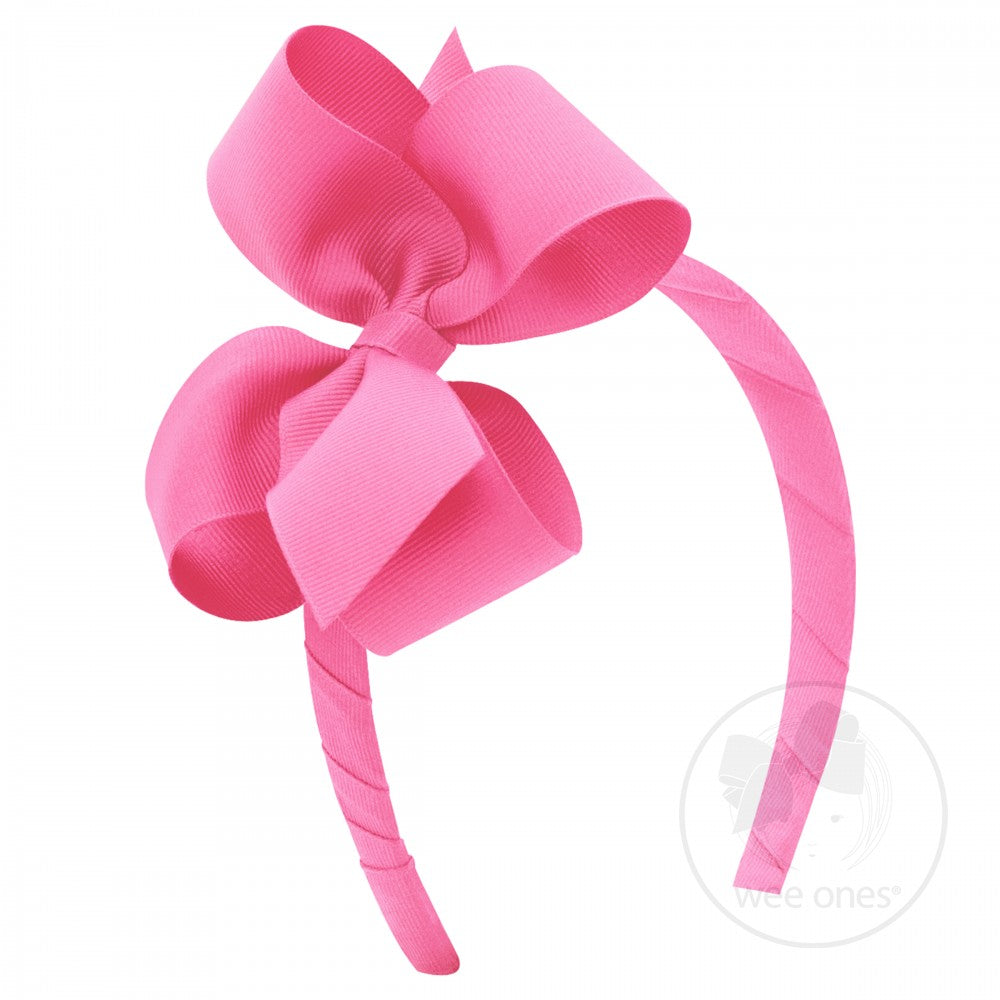 Hot Pink Medium Bow Hard Headband Wee Ones