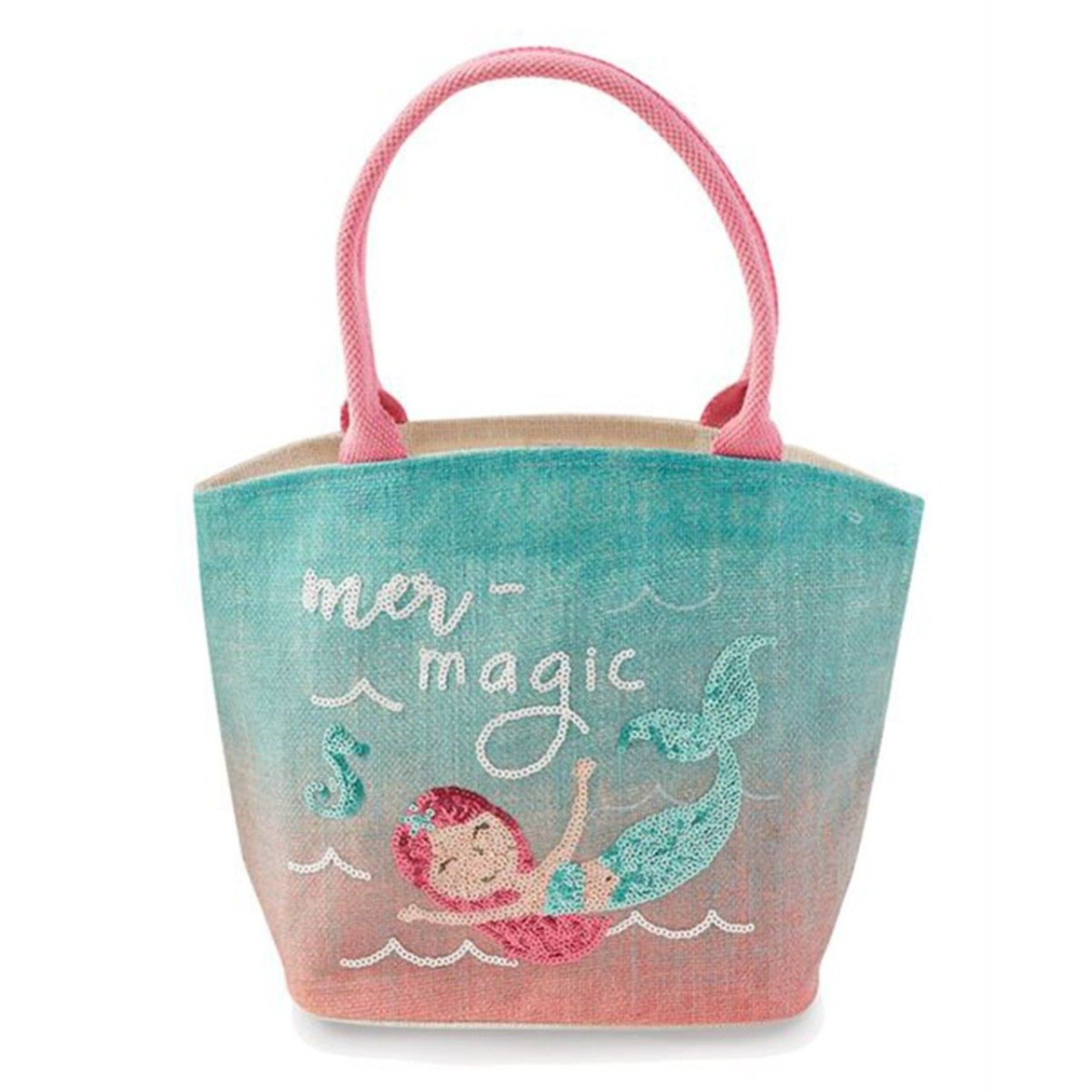 Mud Pie pink sequined mermaid girls tote