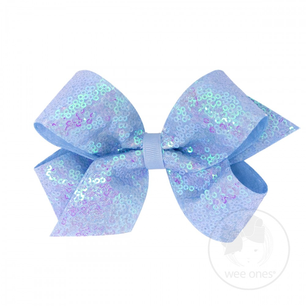 Blue Iridescent Sequin Bow Wee Ones