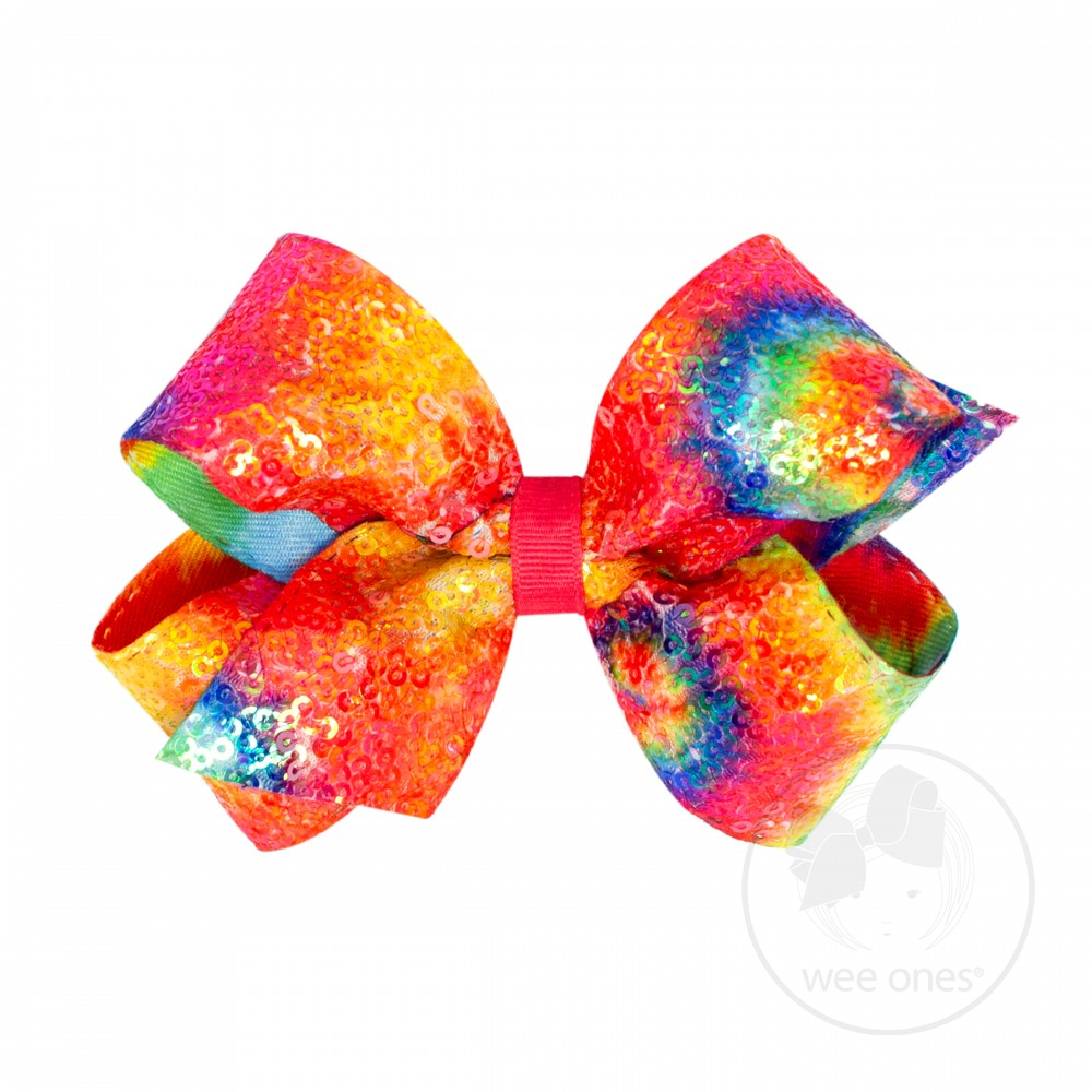 Bright Sequin Tie-Dye Bow Wee Ones