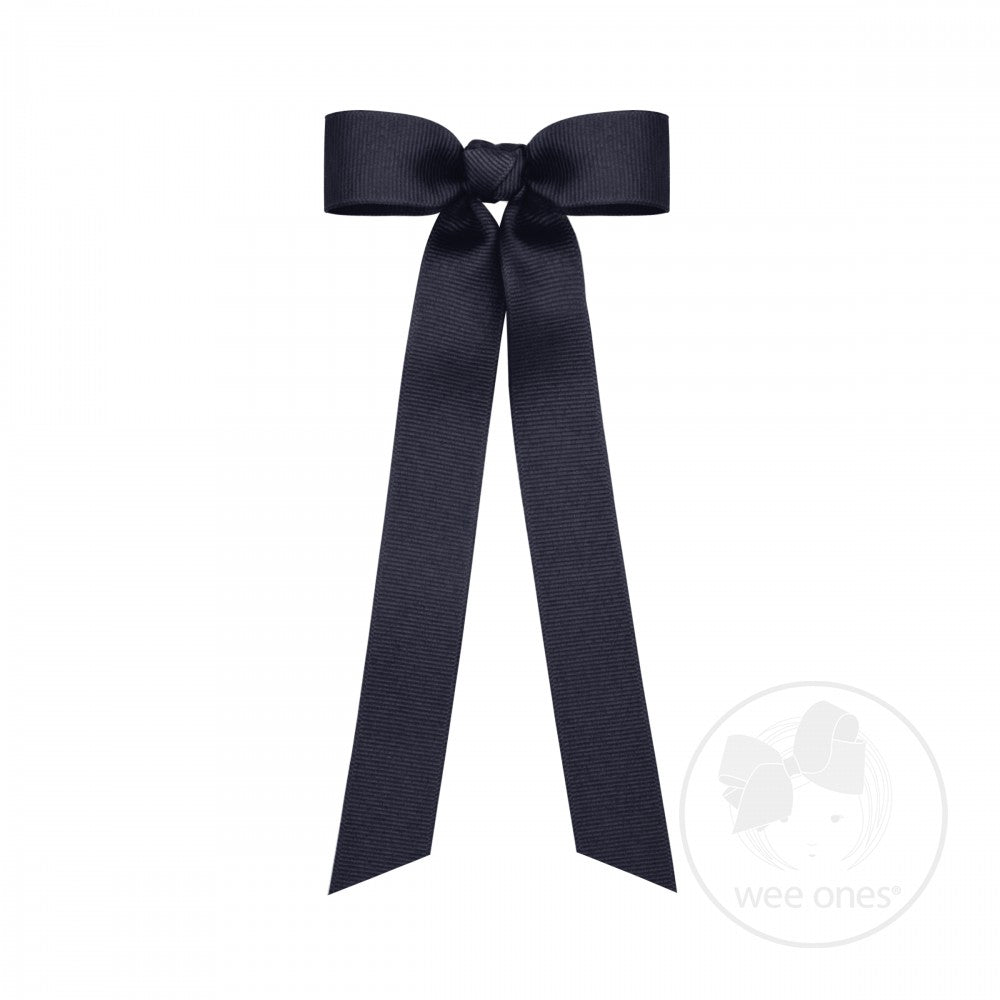 Grosgrain Long Tail Bow Navy Wee Ones
