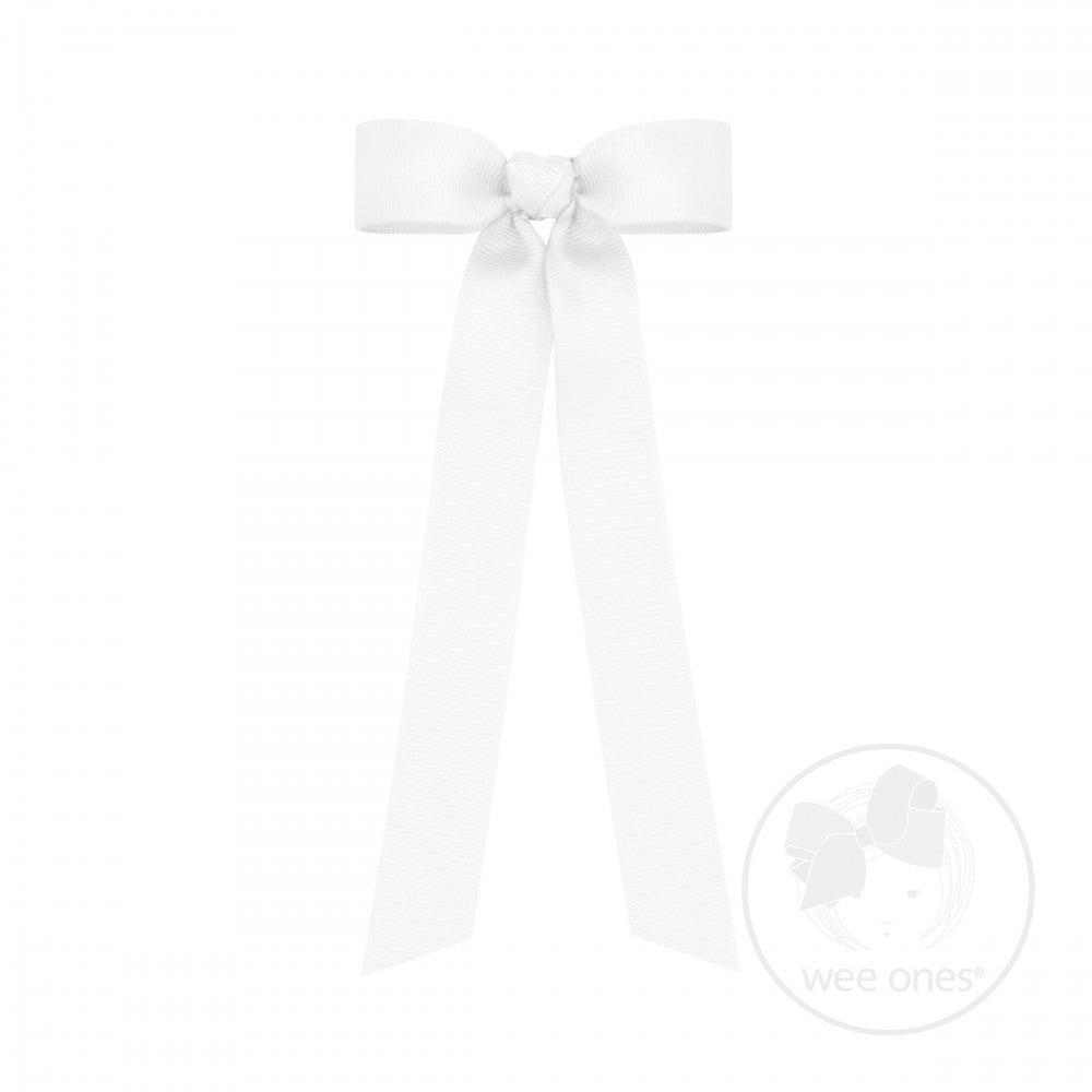 Grosgrain Long Tail Bow White Wee Ones