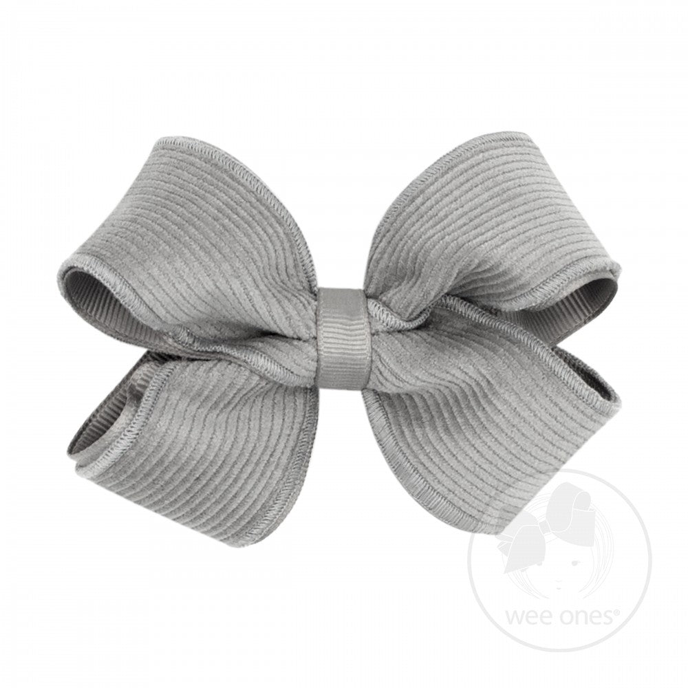 Wee Ones Small Corduroy Overlay Bow Grey