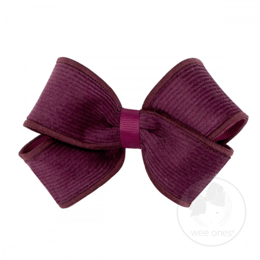 Wee Ones Small Corduroy Overlay Bow Wine