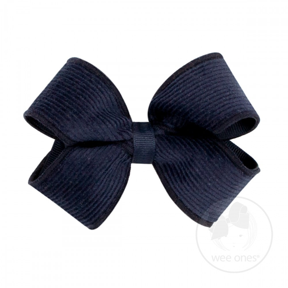 Wee Ones Small Corduroy Overlay Bow Navy