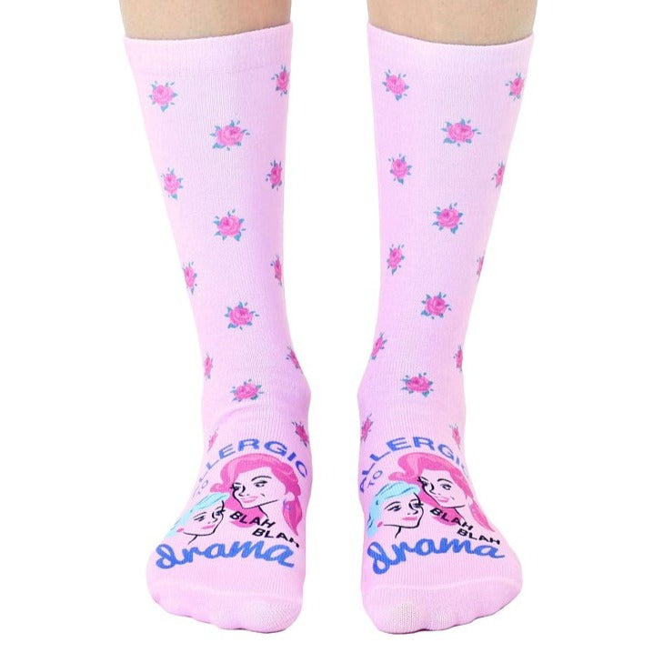 Living Royal light pink printed girls crew socks