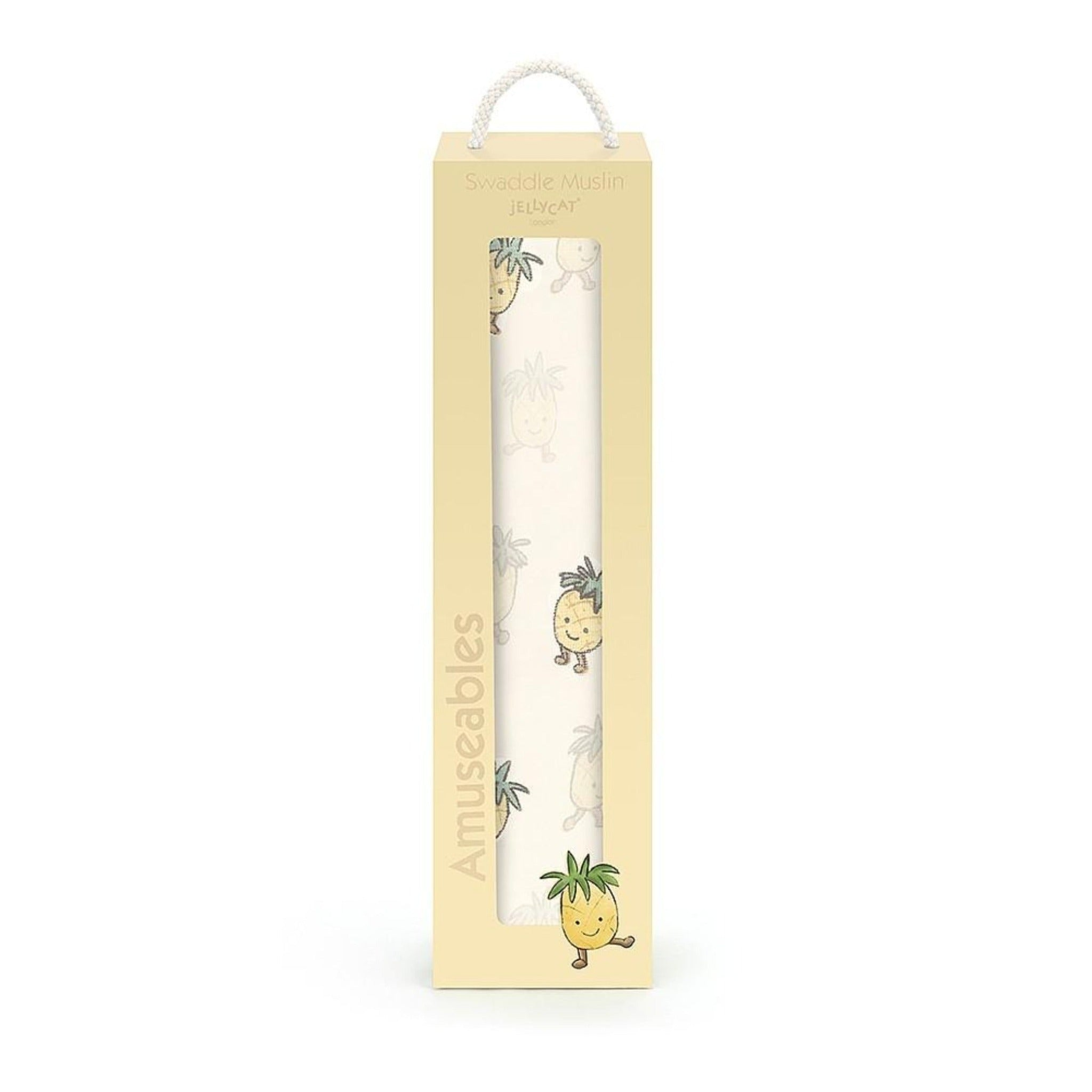 JellyCat cotton pineapple printed baby swaddle