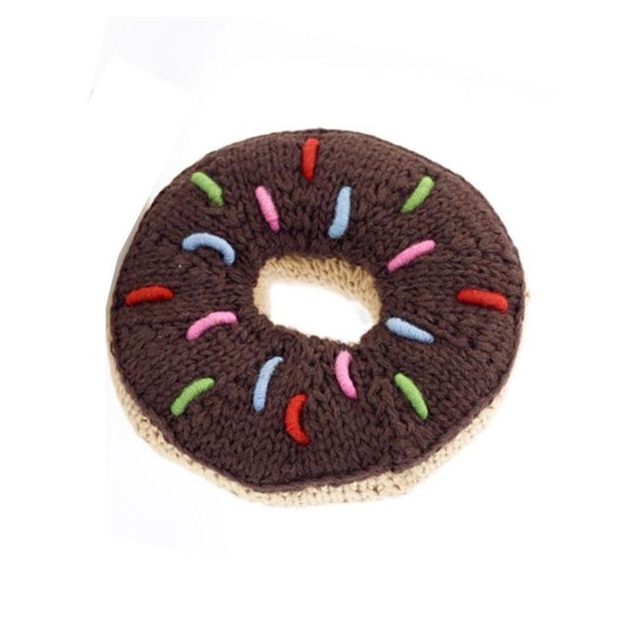 Pebblechild Knit Chocolate Donut Rattle