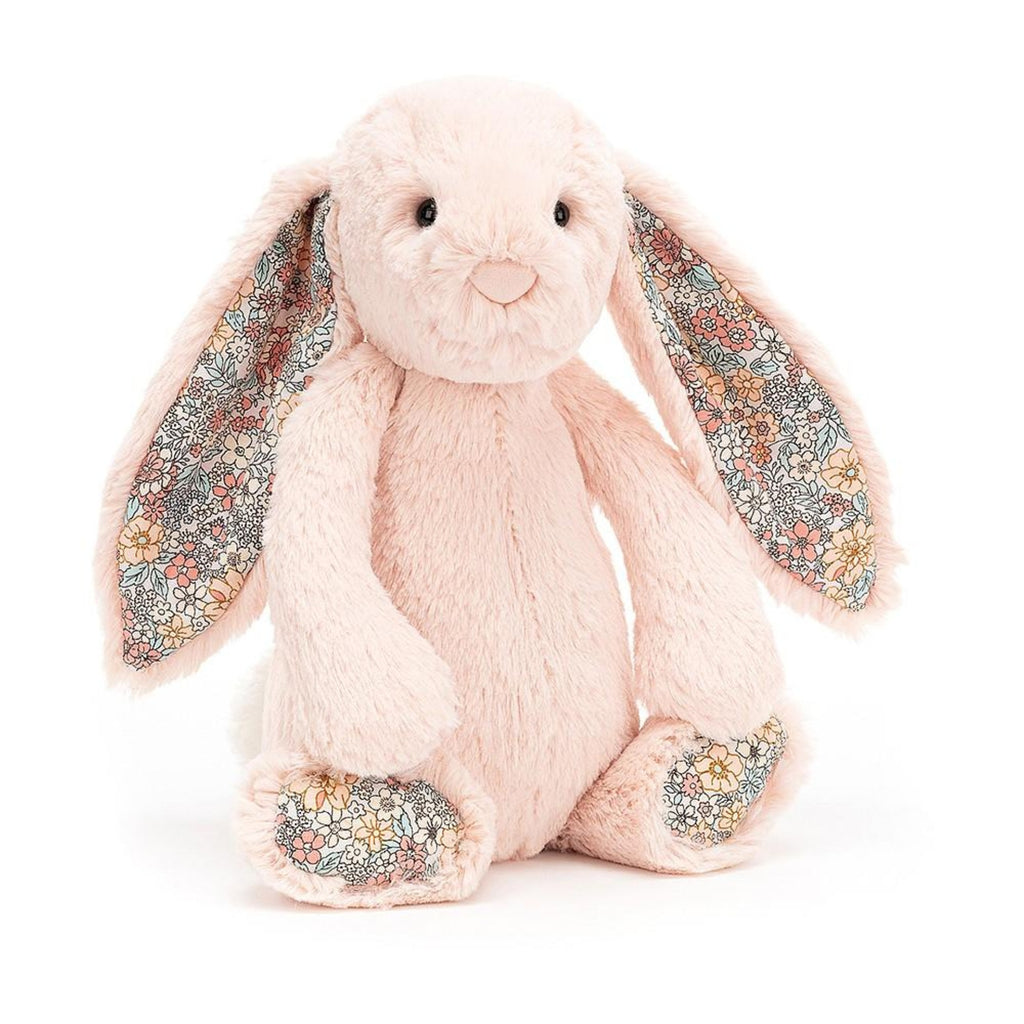 JellyCat light peach bunny toy with floral ears