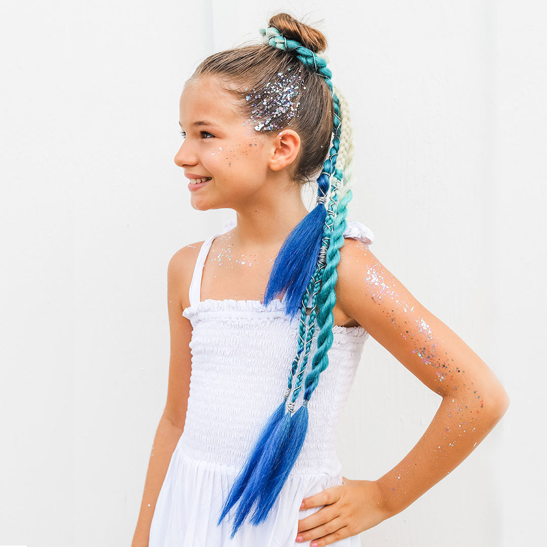 Aquamarine Single Bun Reusable Braids