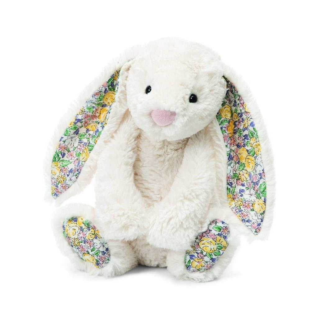 JellyCat plush bunny toy with floral ears