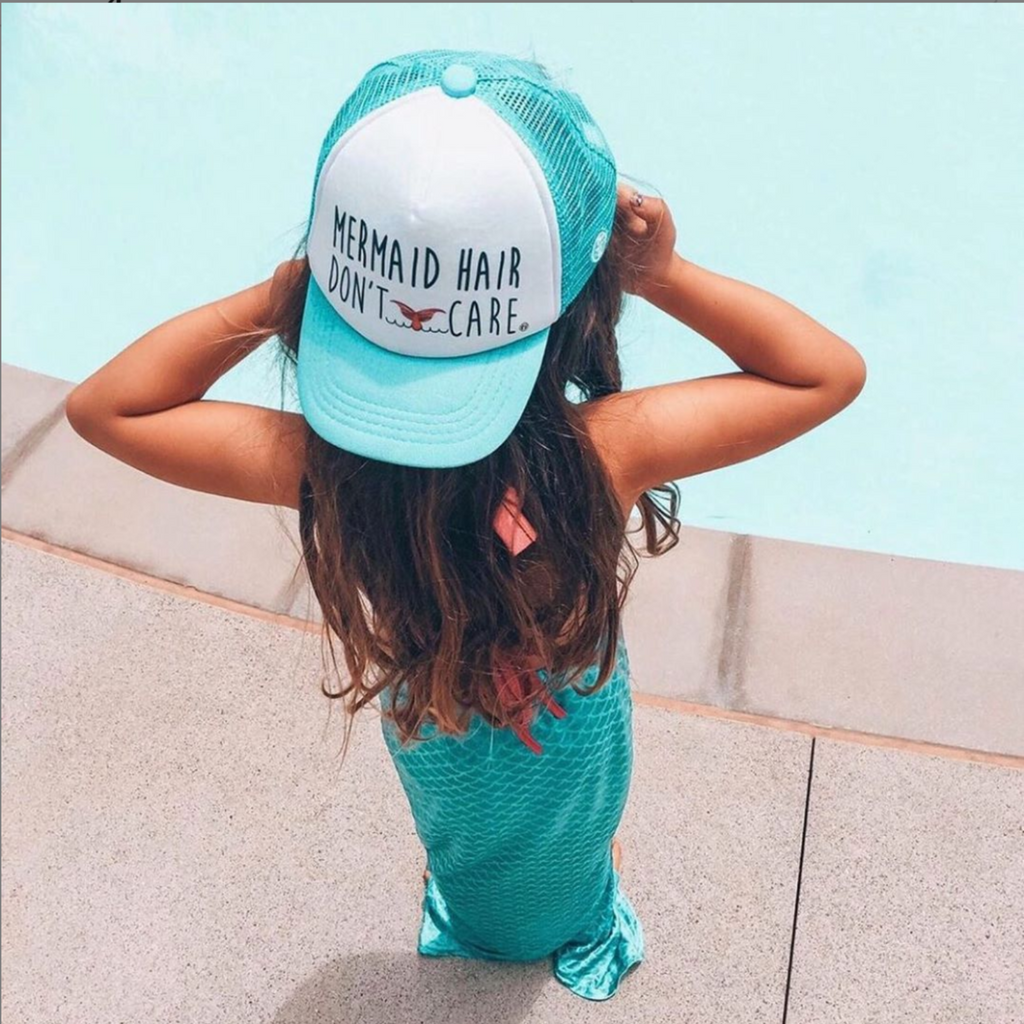 "Grom Squad ""Mermaid Hair Don't Care"" aqua hat"