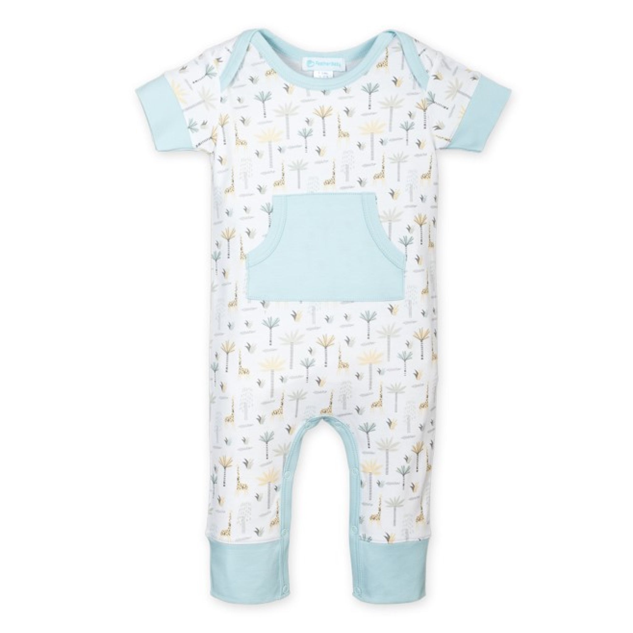 Palms and Giraffes on White Kangaroo Romper (Baby Boy)