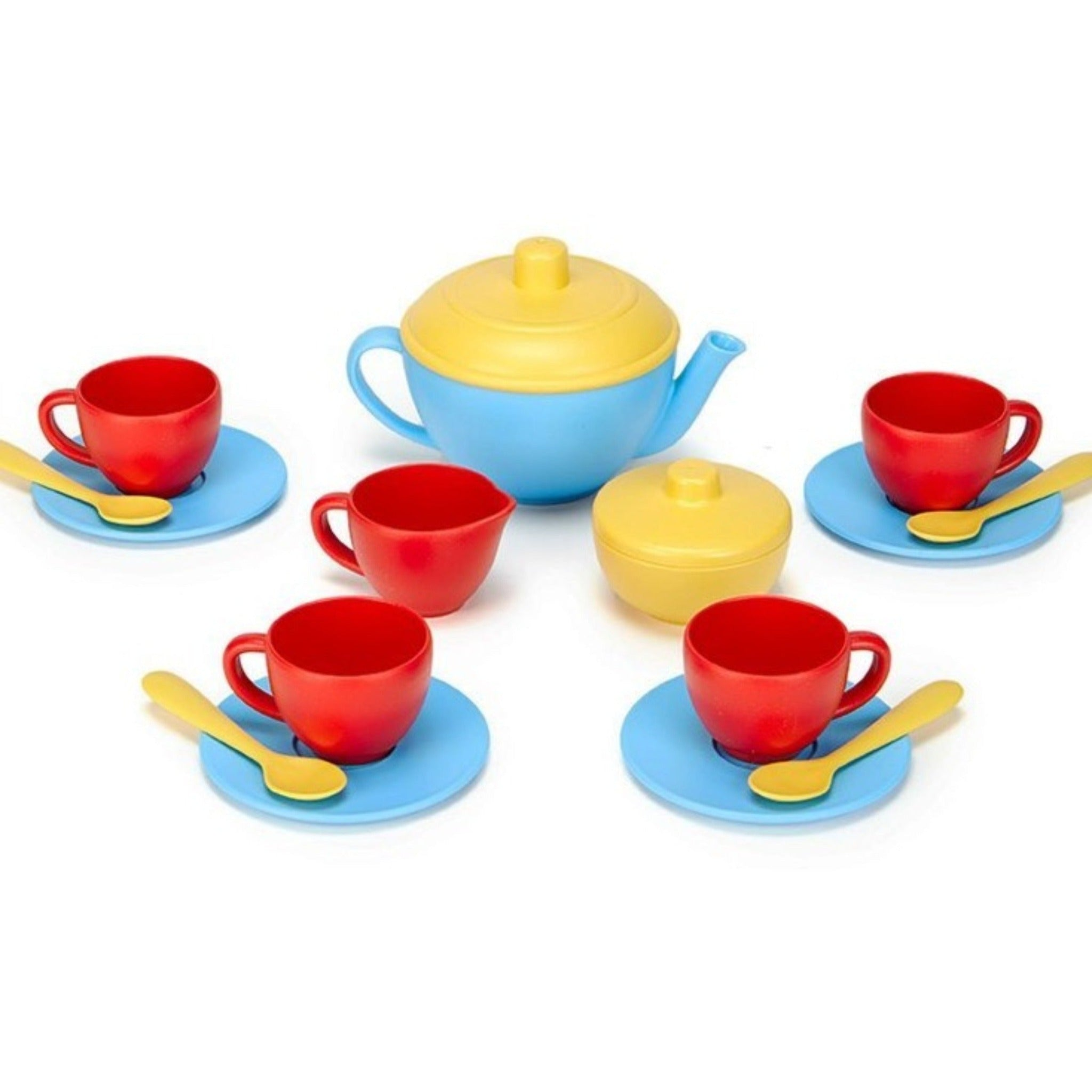 Green Toys 17 blue, red & yellow tea set