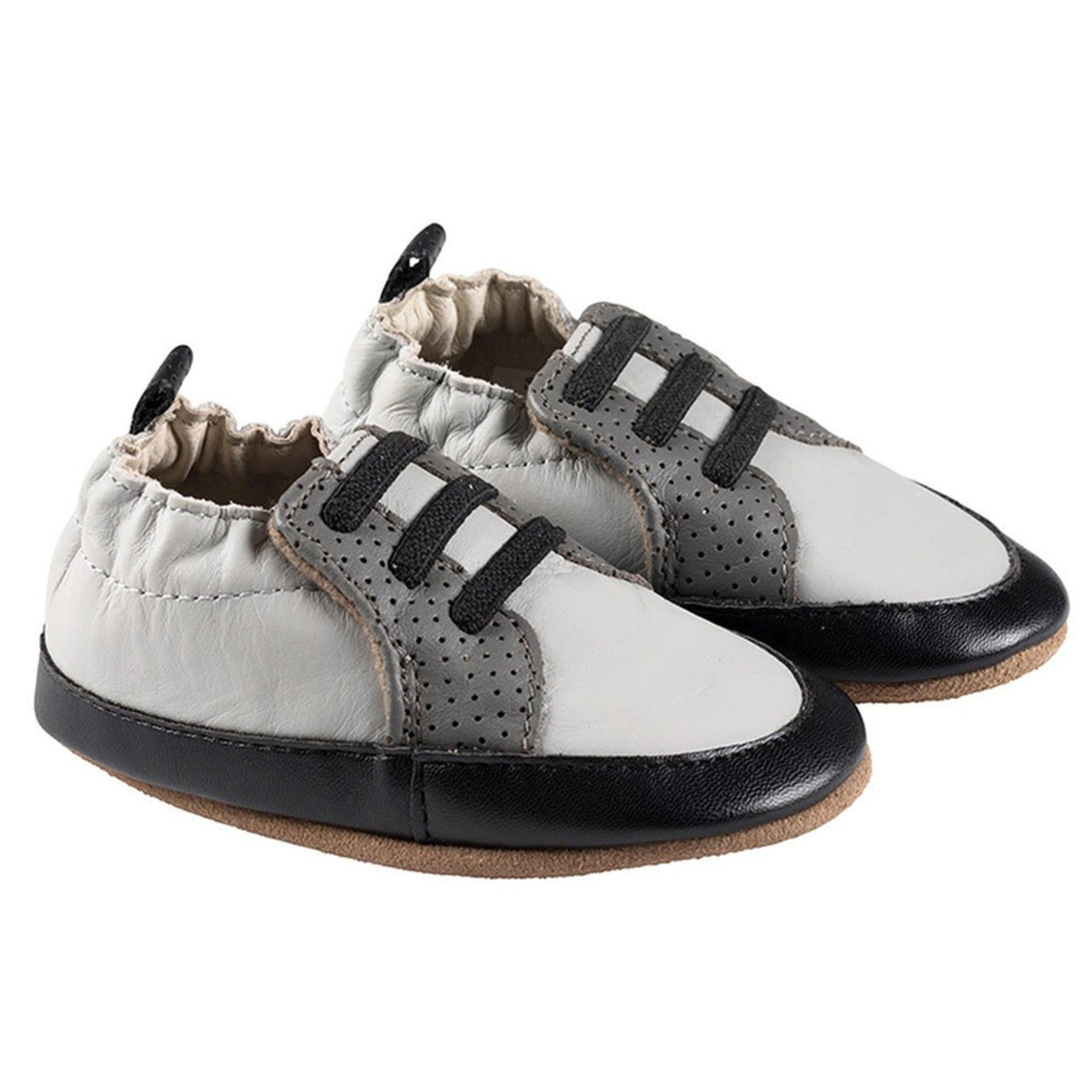 Robeez gray & white boys trainer shoes