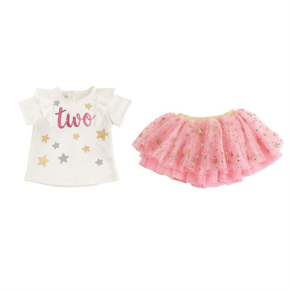 "Mud Pie  ""two"" birthday shirt and tutu set"