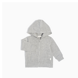 Grey Knit Zip Up Hoodie (Toddler + Little Boy)
