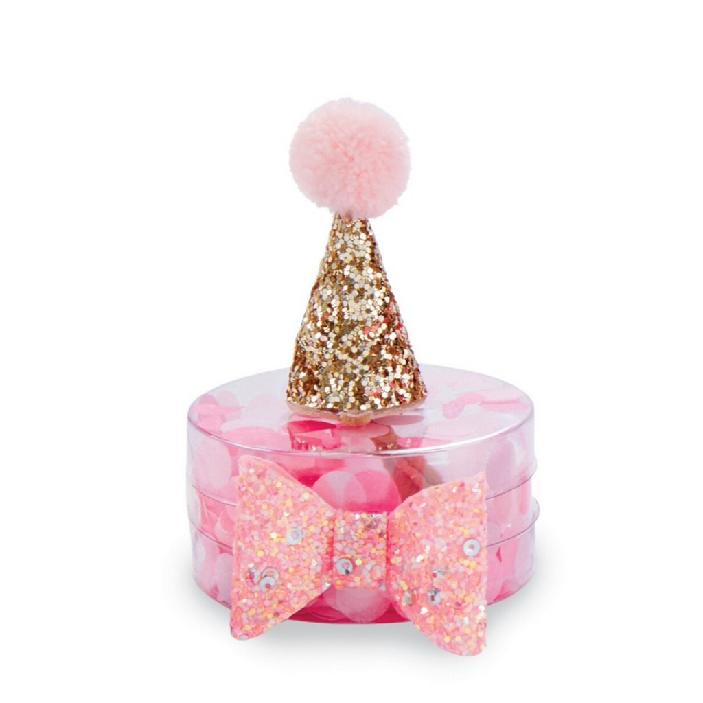 Mud Pie girls gold glitter party hat and bow set