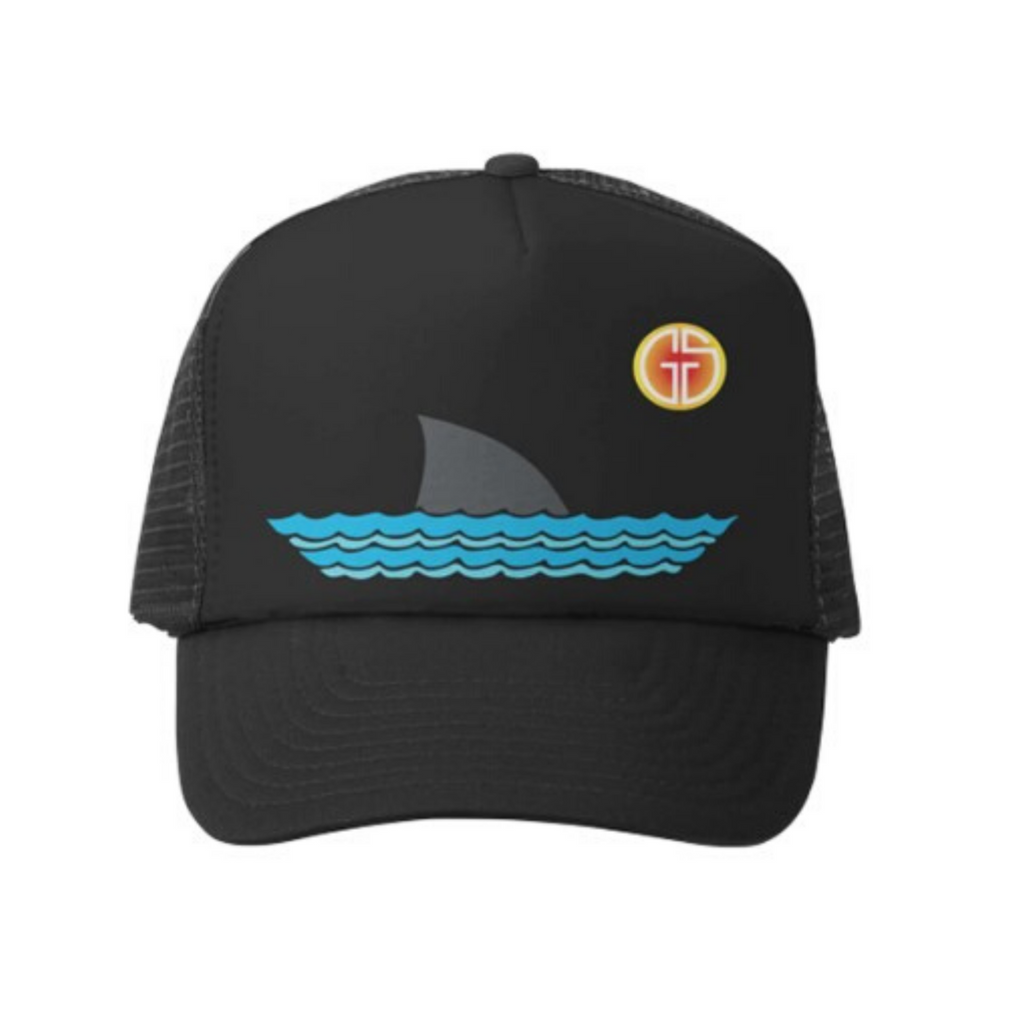 Grom Squad black shark finned trucker hat