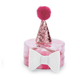 Mud Pie hot pink girls party hat and bow set