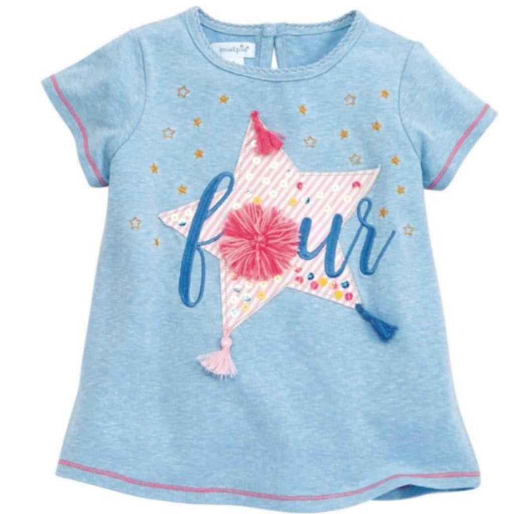 Mud Pie light blue 4th birthday girls tee shirt