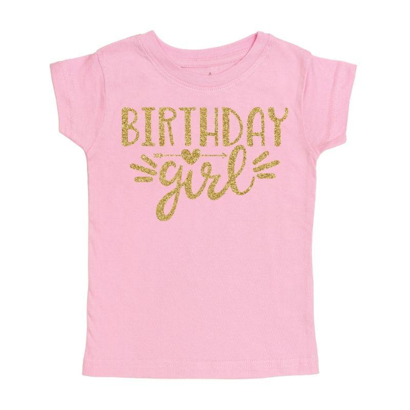 light pink birthday girl gold glitter doodle