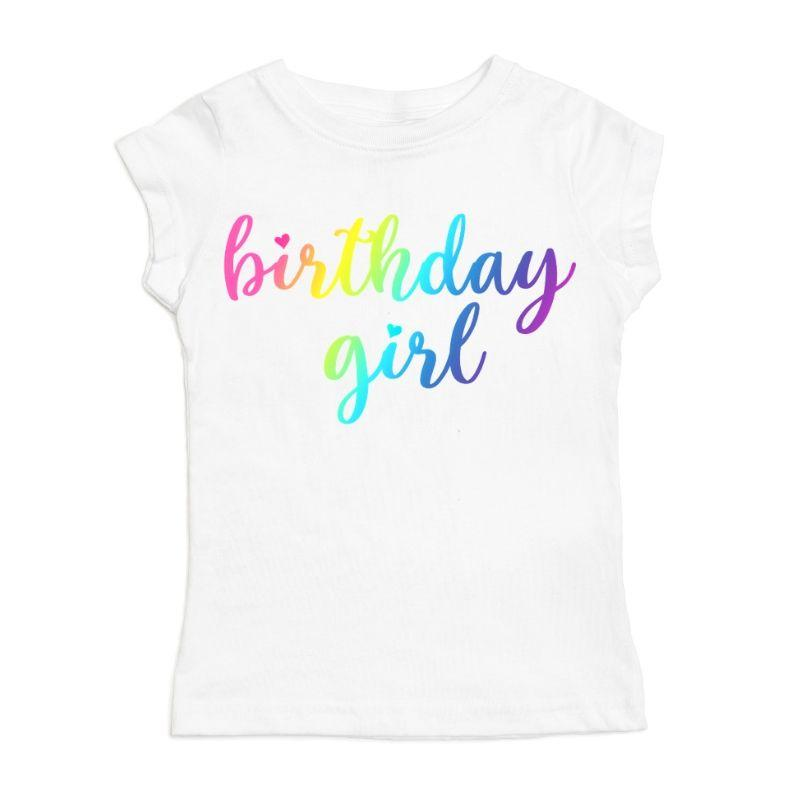White rainbow birthday girl t-shirt