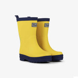 Hatley Yellow & Navy Matte Rain Boots Side