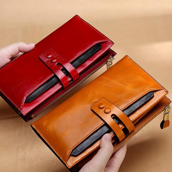 Genuine Leather Large Capacity Wallet with Detachable Card Pocket