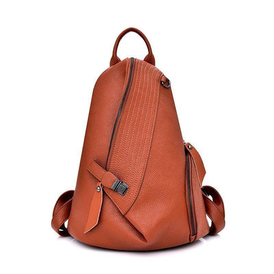 Women PU Leather Solid Backpack