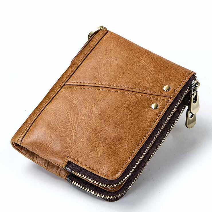 Wallet Genuine Leather Wallets Female Short Walet Double Zipper Purse With Coin Bags For Card RFID 114738