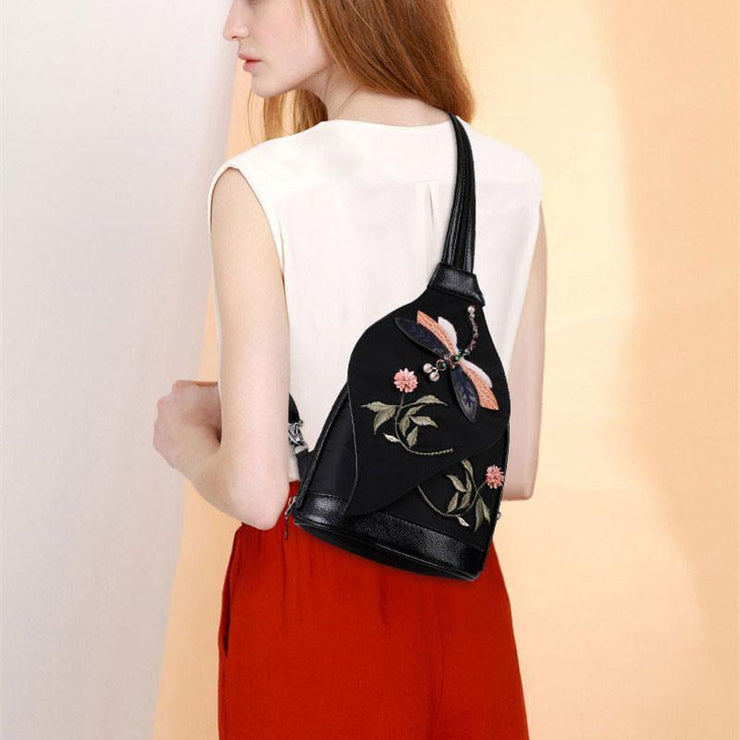 Women Multifunction Flowers Embroidery Nylon Backpack Crossbody Bags