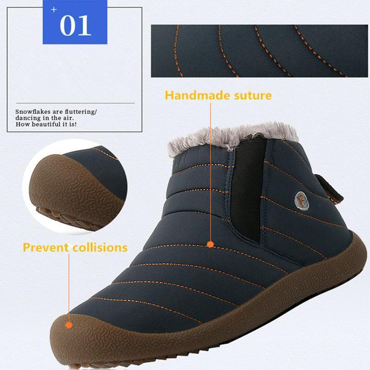 Thickening Faux Fur Lining Flat Winter Water-resistant Ankle Boots