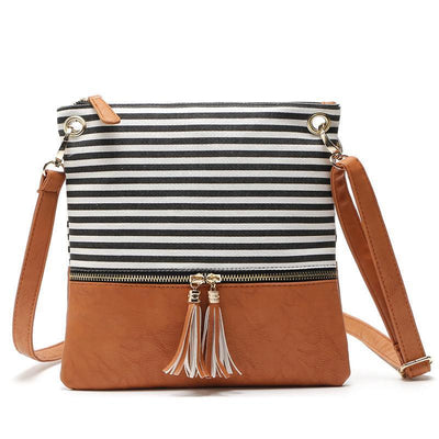 Tassel Stripe Patchwork Crossbody Bag