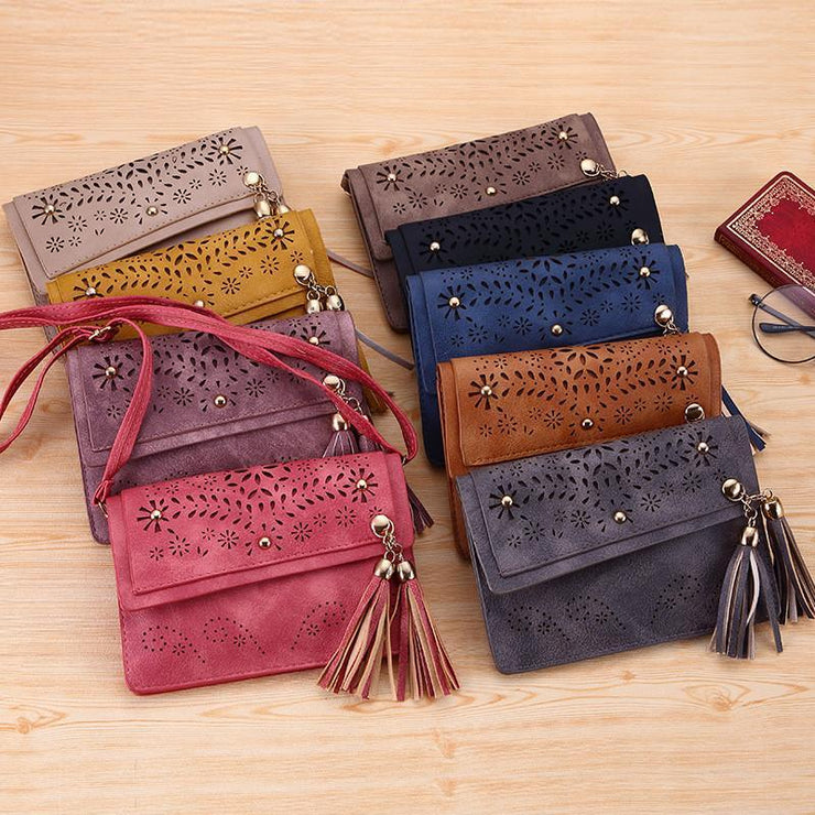 Women Hollow Tassel Crossbody Bags