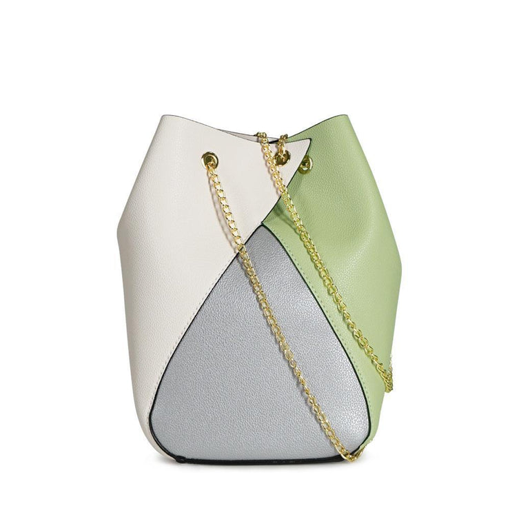 Colorblock Chain Bucket Shoulder Bag