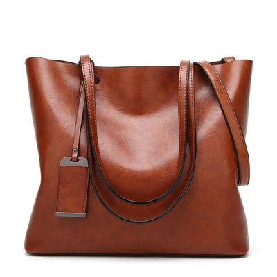Large Capacity Women Solid Rivet Handbag