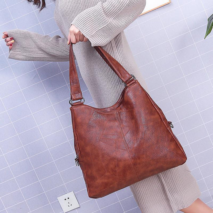 Large Capacity Vintage Soft Hobo Bag
