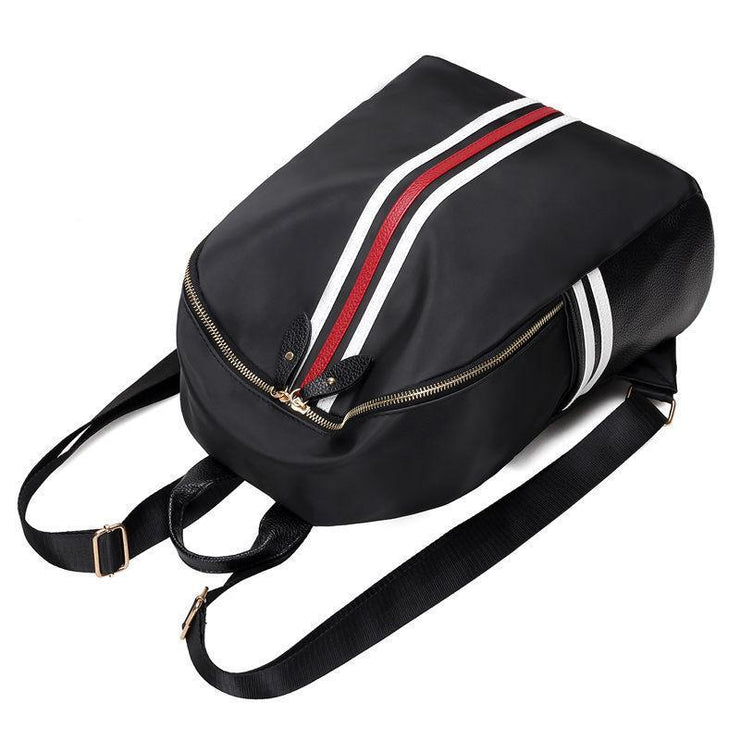 Waterproof Stripe Patchwork Backpack