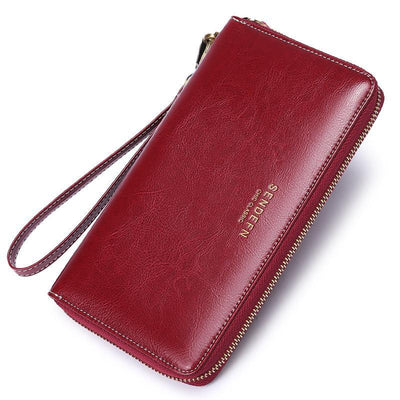 Women RFID Leather Large Capacity Plain Wallet